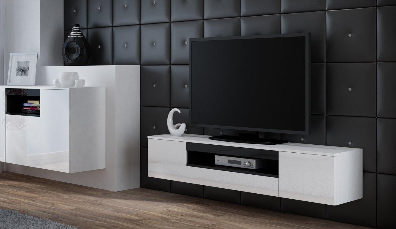 CAMA MEBLE Závesný televízny stolík VIVA Farba: biela/čierna