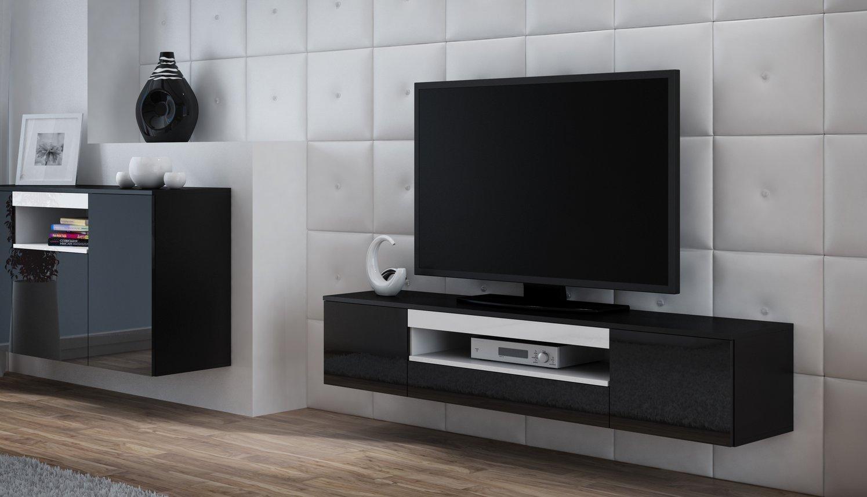 CAMA MEBLE Závesný televízny stolík VIVA Farba: čierna/biela
