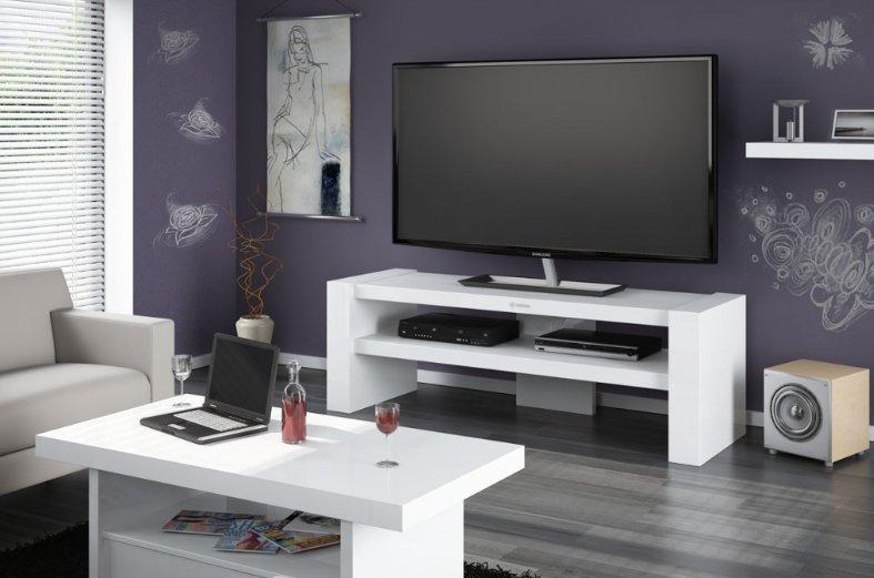 HUBERTUS Televízný stolík DAVOS 2 čierny Farba: biela