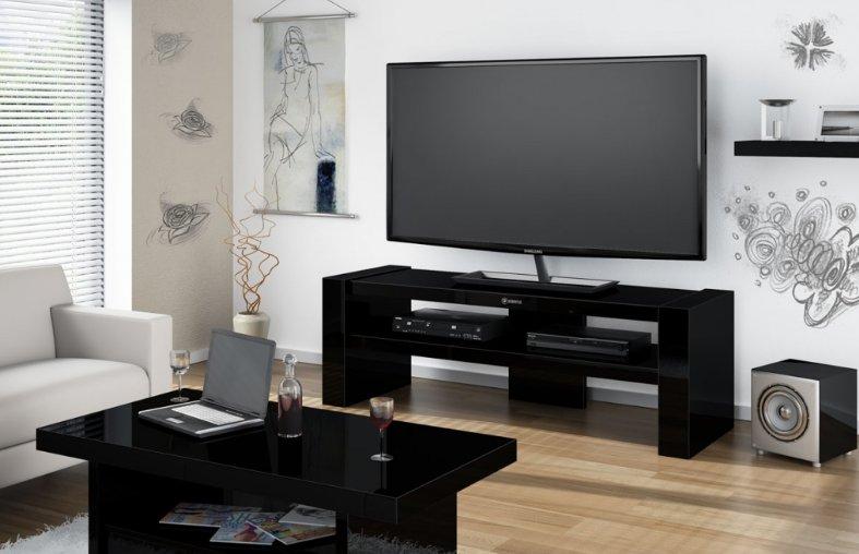 HUBERTUS Televízný stolík DAVOS 2 čierny Farba: čierna