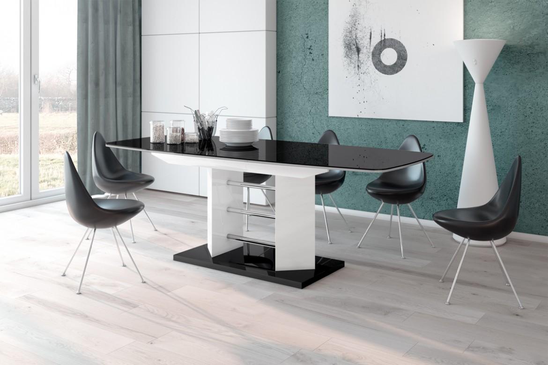 HUBERTUS Jedálenský stôl LINOSA 3 Farba: čierna/biela