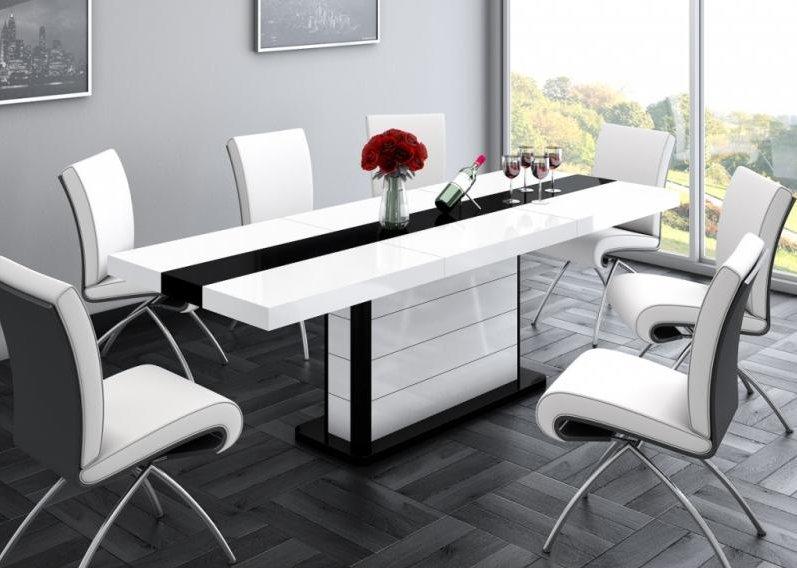 HUBERTUS Jedálenský stôl PIANOSA bielo/čierny