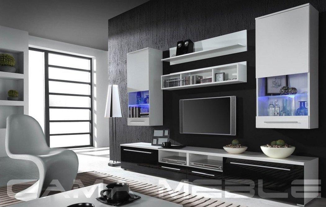CAMA MEBLE Obývacia stena LUNA Farba: biela/čierna/biela