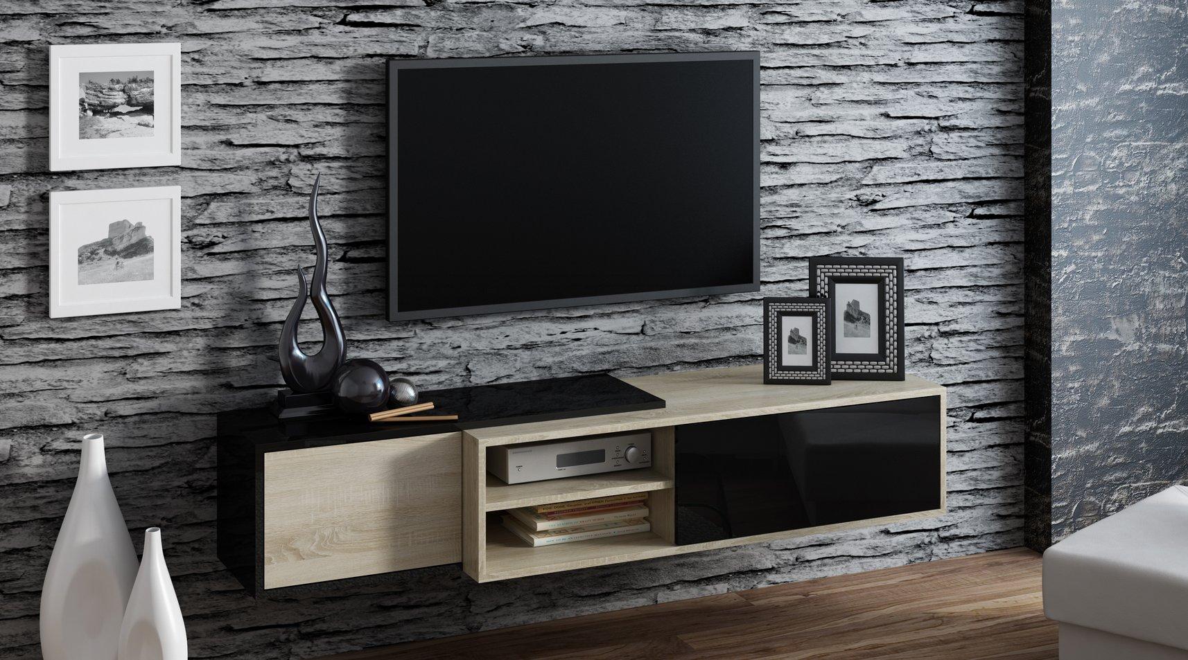 CAMA MEBLE Závesný televízny stolík SIGMA 1 Farba: biela/čierna
