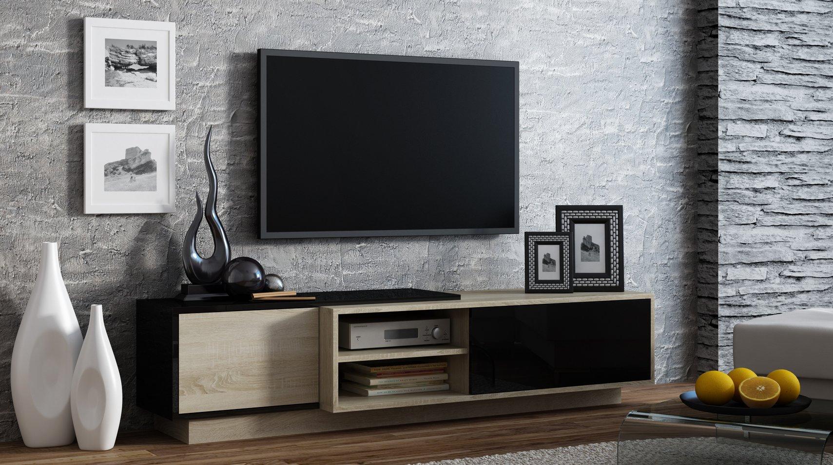 CAMA MEBLE Televízny stolík SIGMA 1 Farba: čierna/dub sonoma