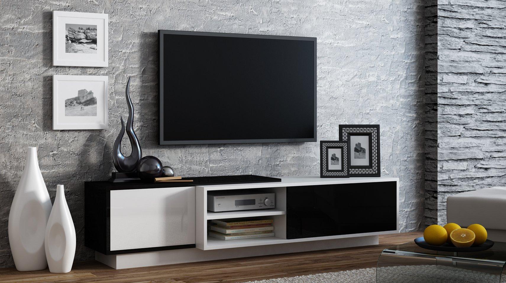 CAMA MEBLE Televízny stolík SIGMA 1 Farba: čierna/biela