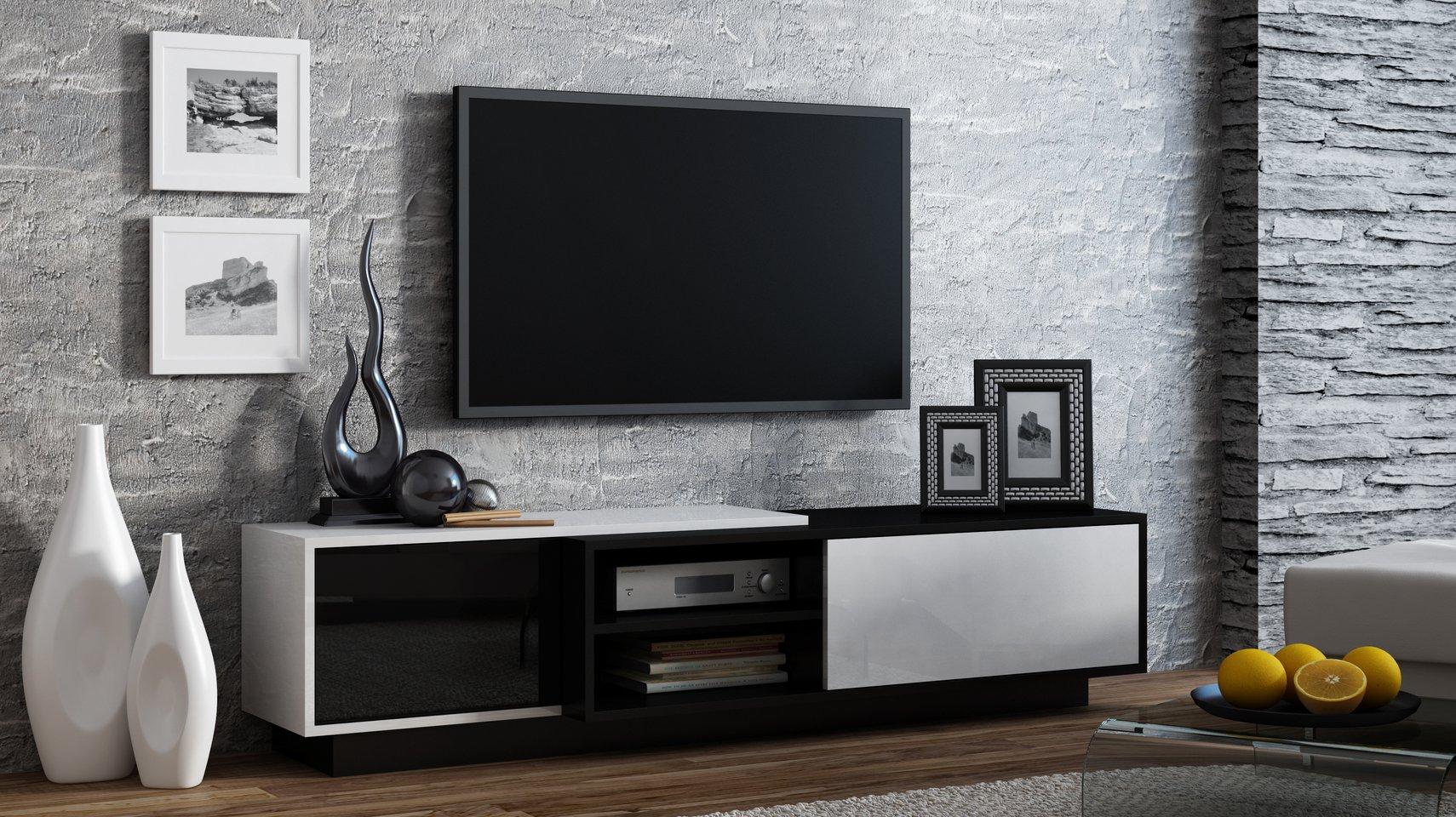 CAMA MEBLE Televízny stolík SIGMA 1 Farba: biela/čierna