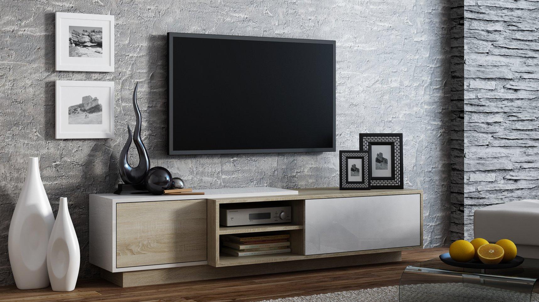CAMA MEBLE Televízny stolík SIGMA 1 Farba: biela/dub sonoma