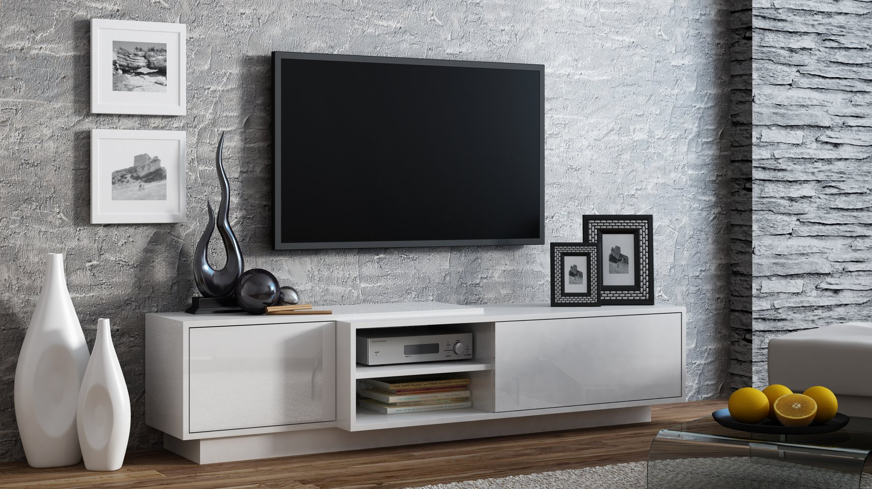 CAMA MEBLE Televízny stolík SIGMA 1 WHITE