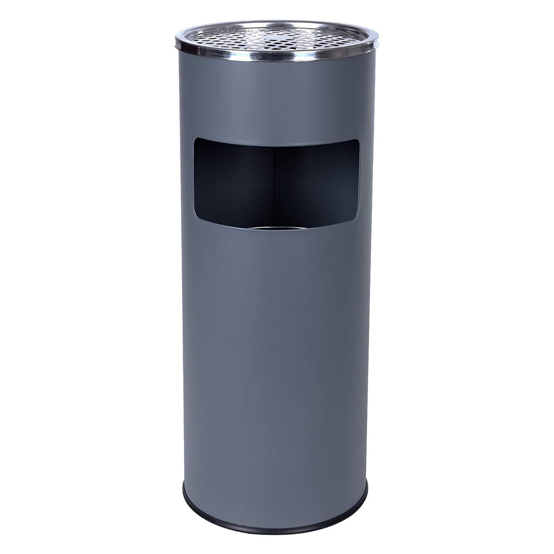 SONGMICS Stojanový popolník valcový s košom 60x24 cm nerez, šedý