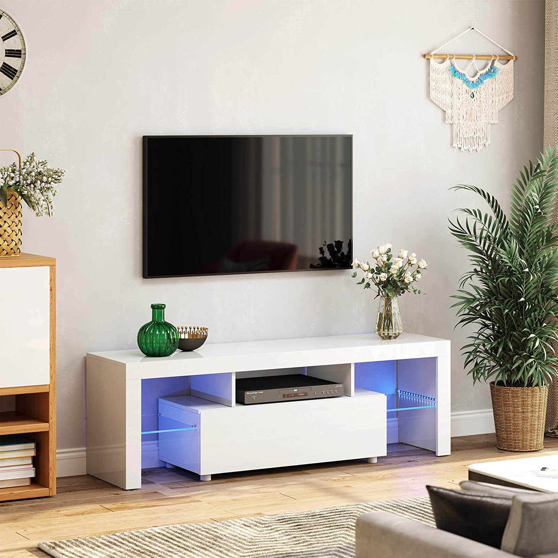VASAGLE TV stolík biely farebné LED podsvietenie 140 x 45 x 35 cm