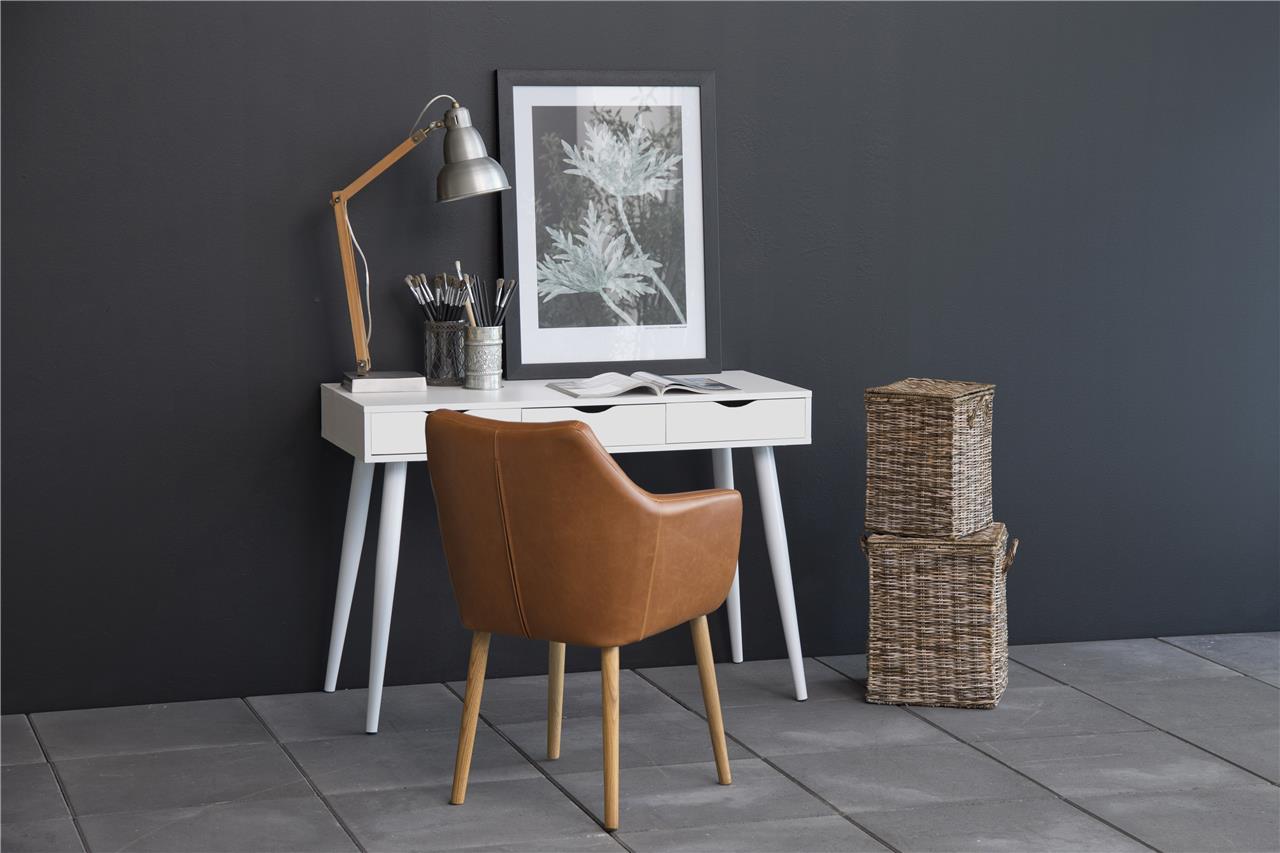 ACTONA Písací stôl NEPTUN 3 zásuvky biely-biely 110 x 50 cm