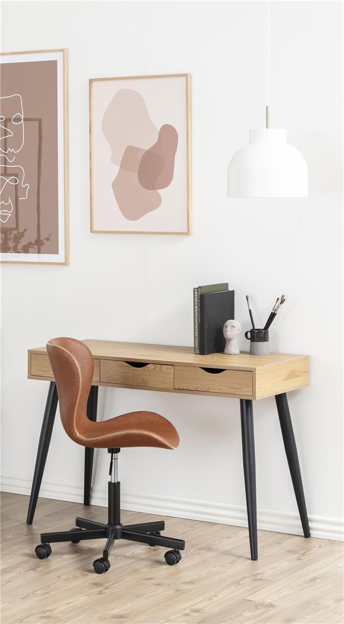 ACTONA Písací stôl NEPTUN 3 zásuvky prírodný-čierny 110 x 50 cm
