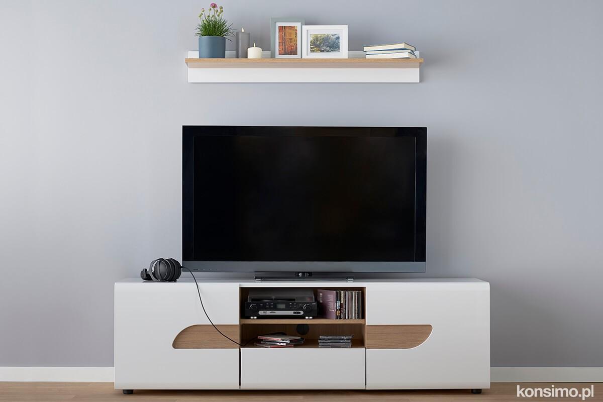 KONSIMO TV stolík AVERO biely 165 x 50 x 42 cm