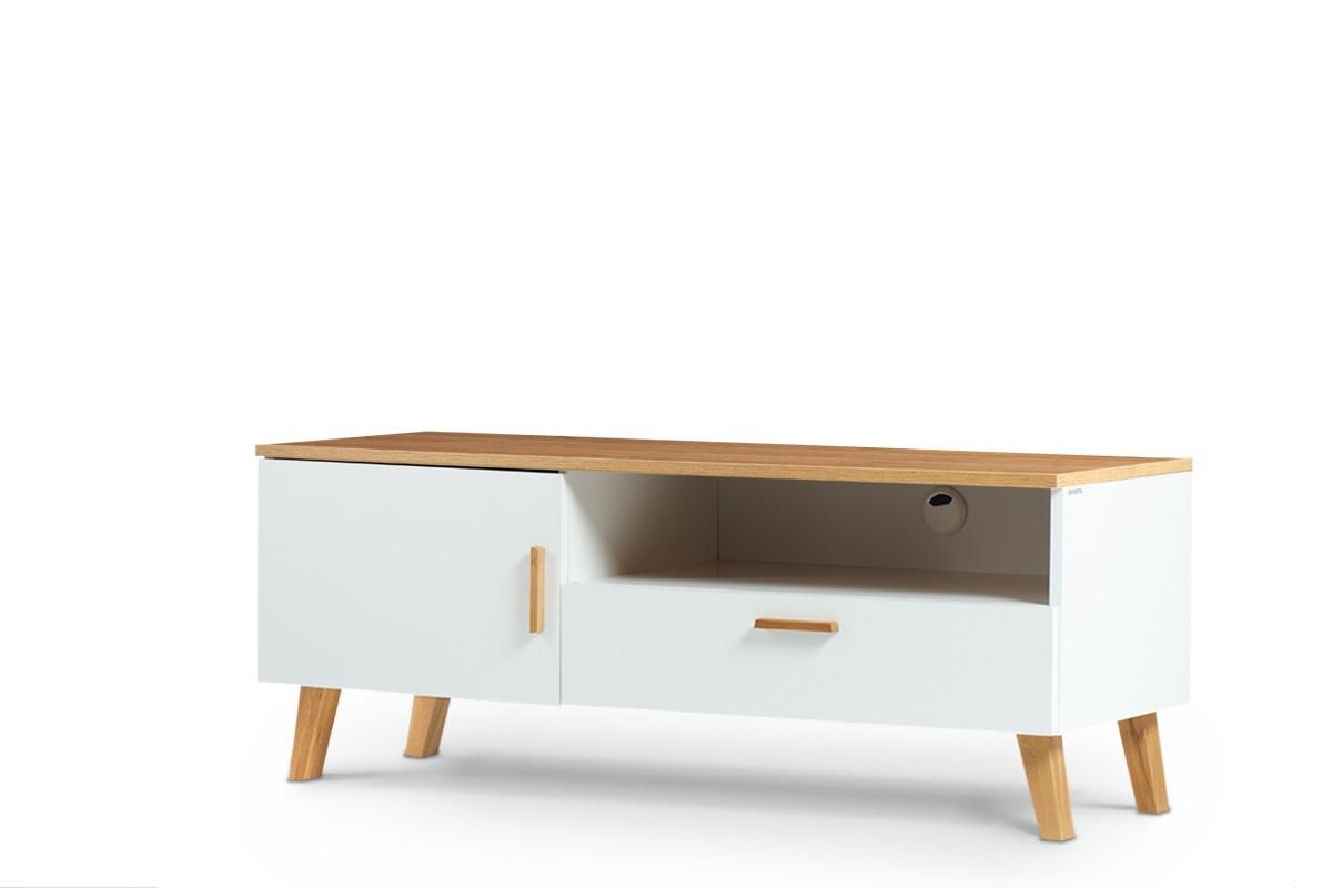 KONSIMO TV stolík FRISK dub biely 126 x 49 x 46 cm
