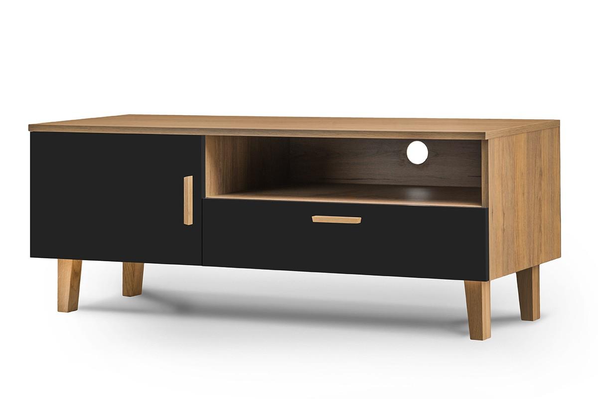 KONSIMO TV stolík FRISK dub čierny 126 x 49 x 46 cm