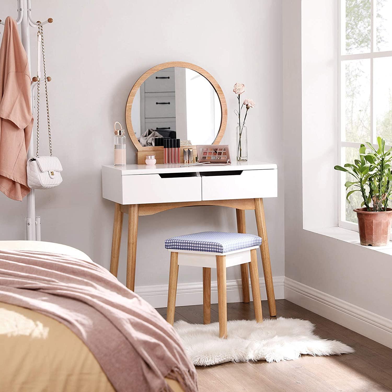 SONGMICS Toaletný stolík so stoličkou biely drevené nohy 80 x 128 x 40 cm