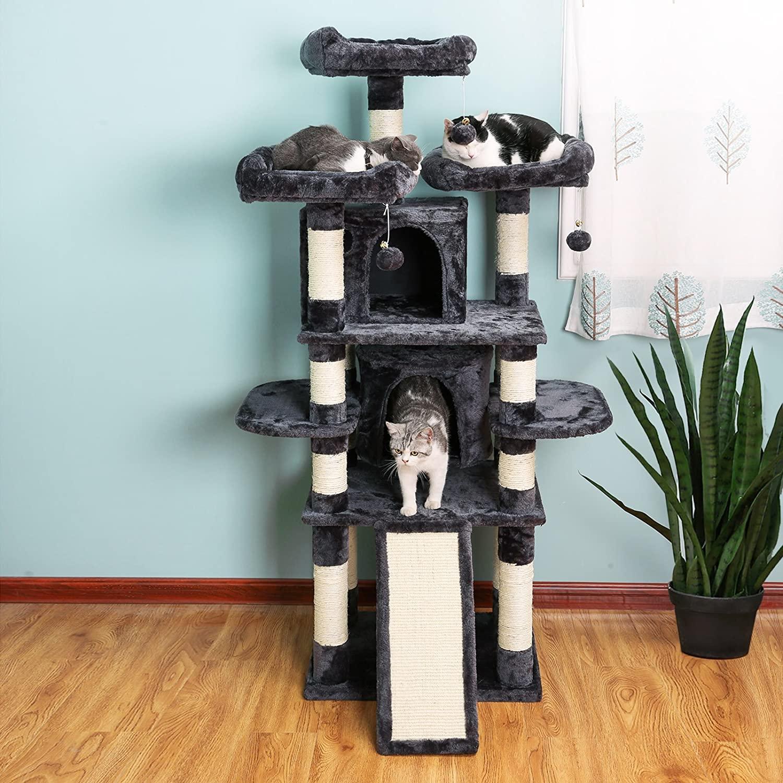 FEANDREA Mačací strom škrabadlo 172 cm čiernošedý