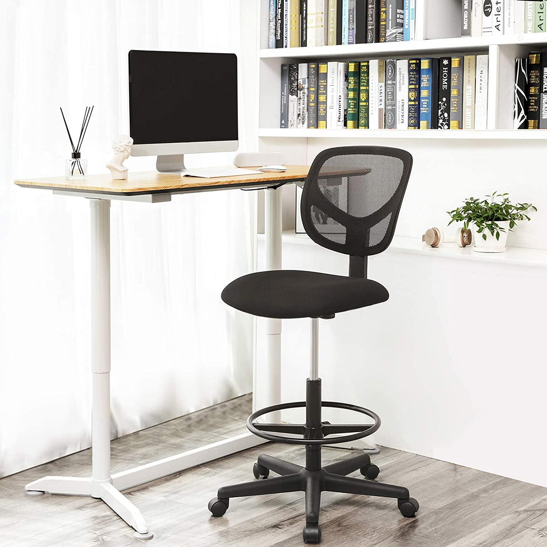 SONGMICS Kancelárska stolička vysoká s podnožkou čierna