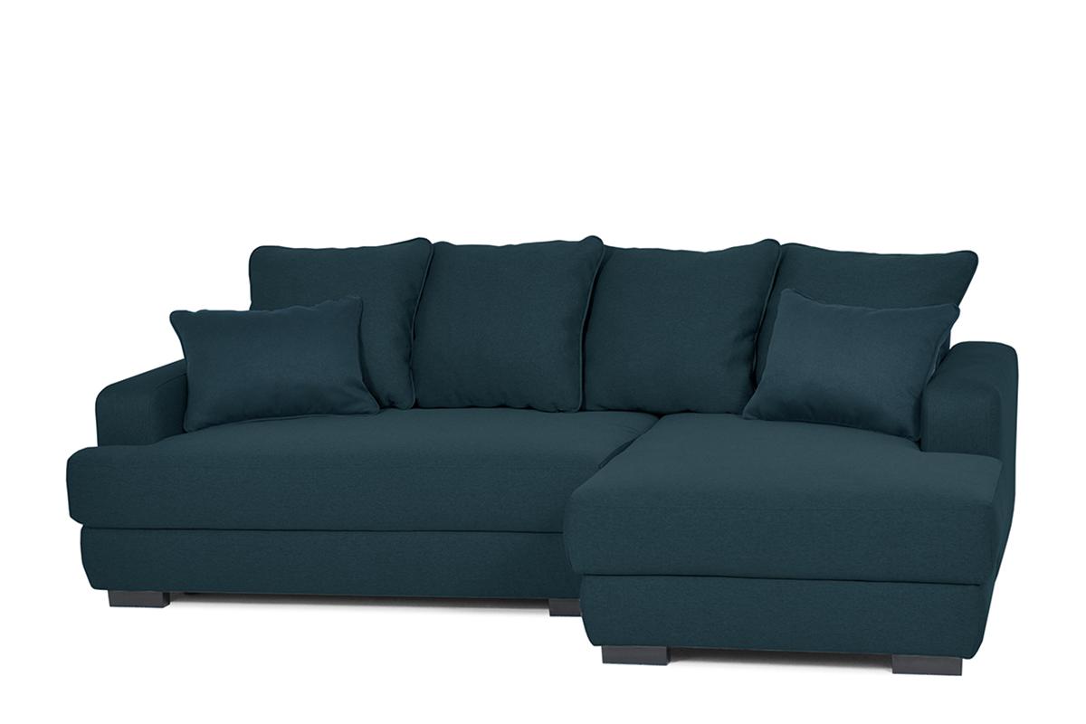 KONSIMO Rohová sedacia súprava TUBERO tmavo modrá, pravé prevedenie