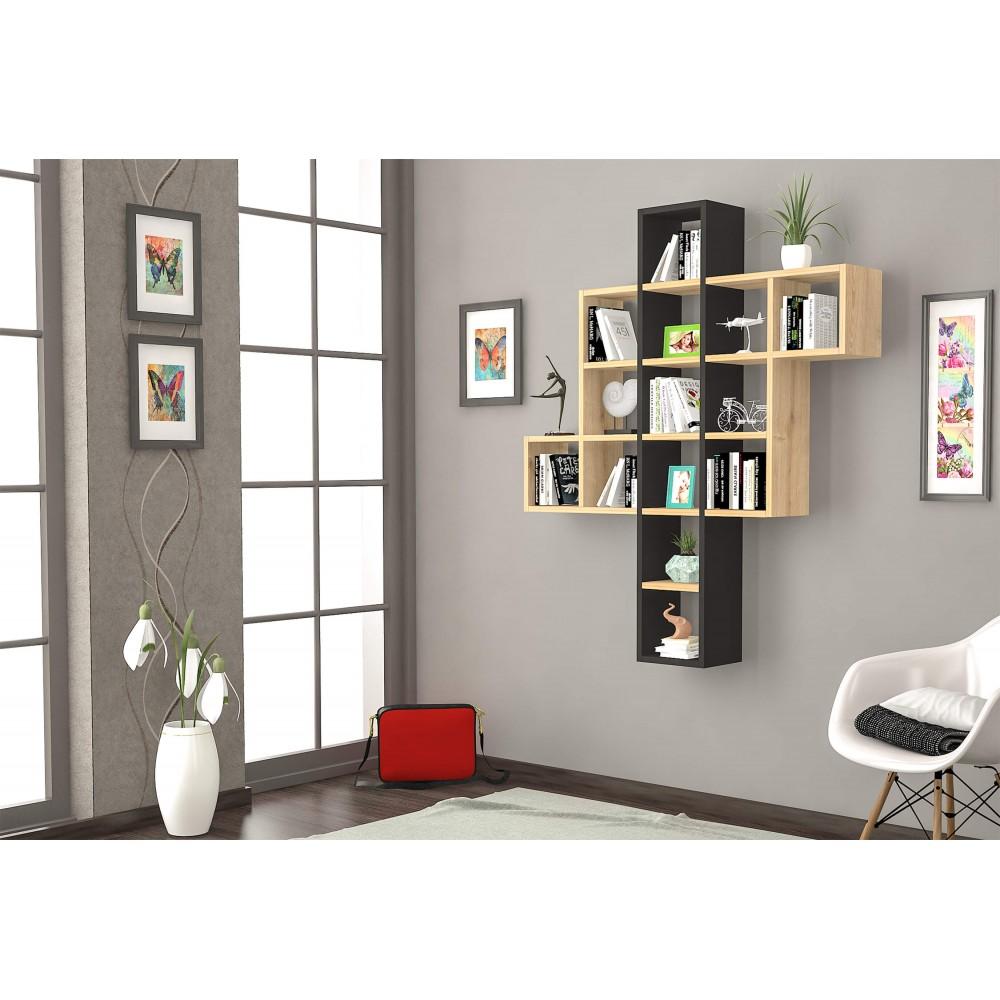 RAFLINE Nástenná polica Chiko béžová šedá 110 x 132 x 22 cm