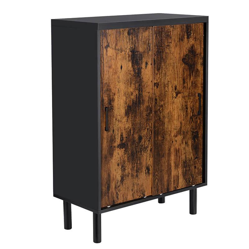 VASAGLE Skriňa čierno-hnedá s posuvnými dverami 70 x 100 x 35 cm