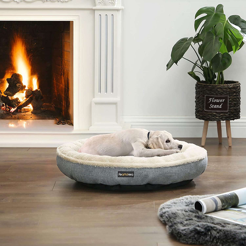 FEANDREA Pelech pre psov sivý béžový oválny 65 cm