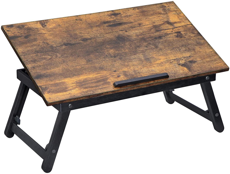 SONGMICS Skladací stôl na notebook rustikálny hnedý