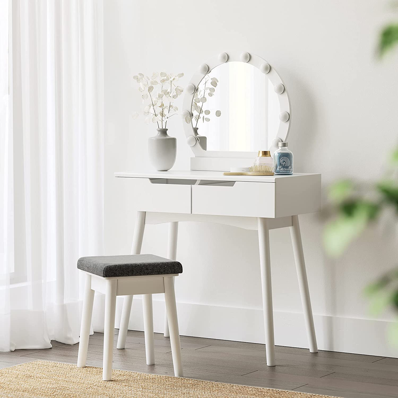 SONGMICS Toaletný stolík s okrúhlym zrkadlom a osvetlením biely