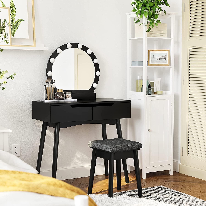 SONGMICS Toaletný stolík s okrúhlym zrkadlom a osvetlením čiernej farby