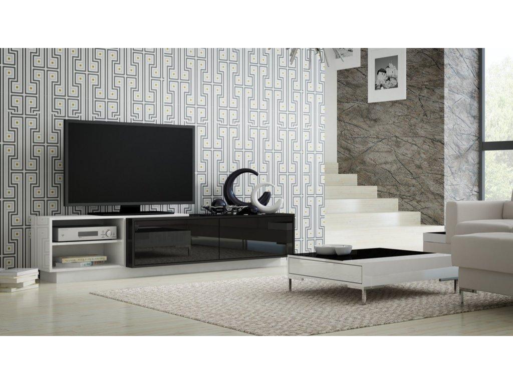 Televizní stolek SIGMA 2 (černá-bílá)