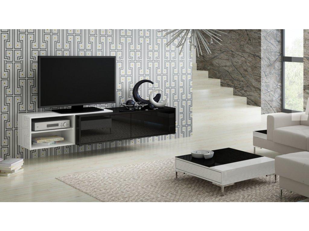 Závěsný televizní stolek SIGMA 2 (černá-bílá)