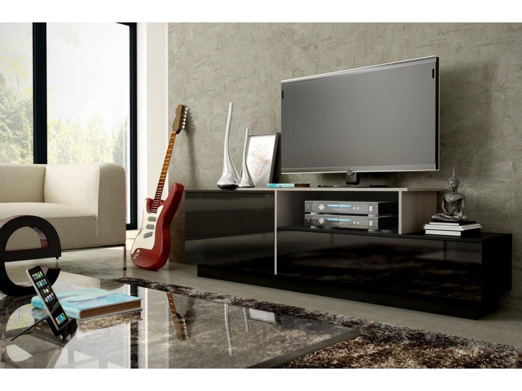 Televizní stolek SIGMA 3 (černá-dub sonoma)
