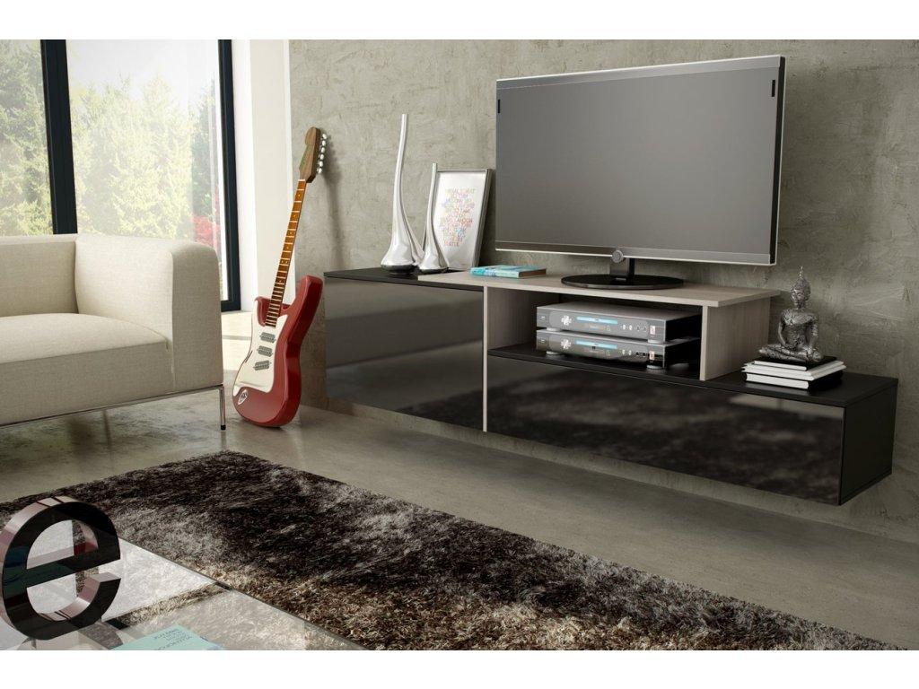 Závěsný televizní stolek SIGMA 3 (černá-dub sonoma)