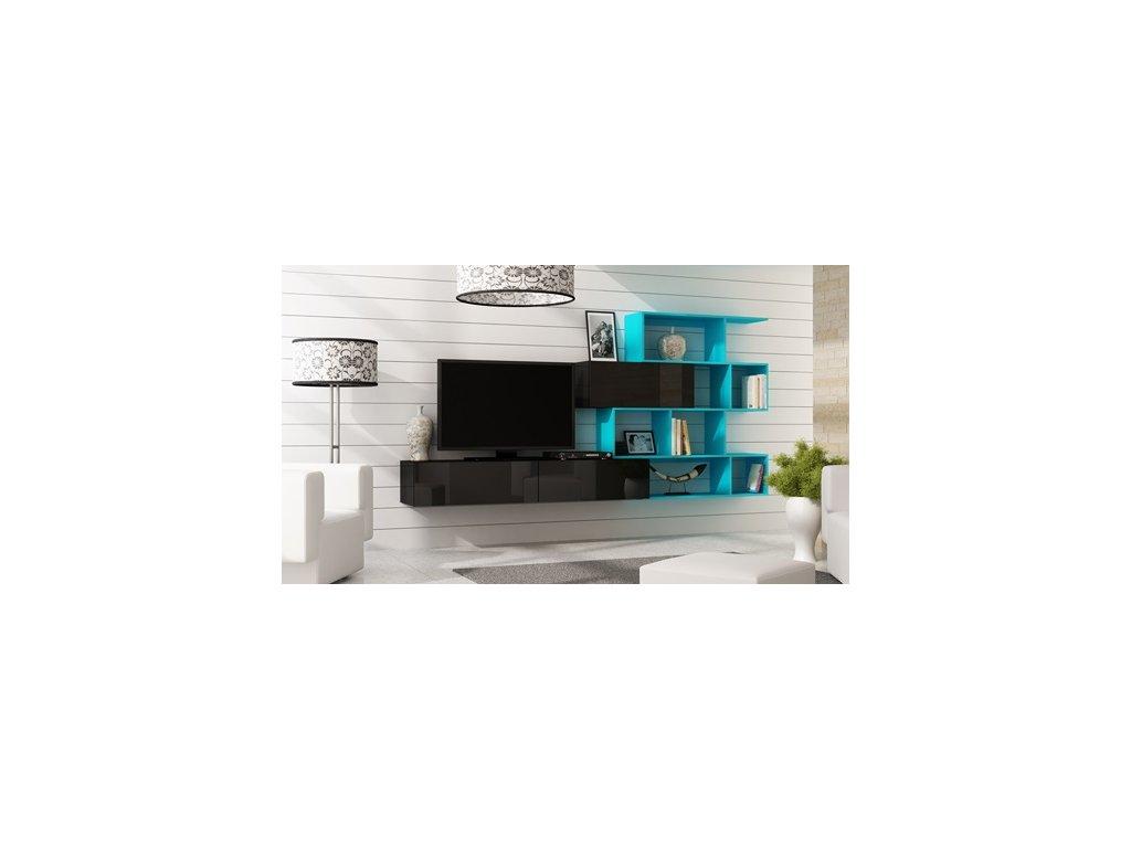 Obývací stěna VIGO 16, černo/modrá