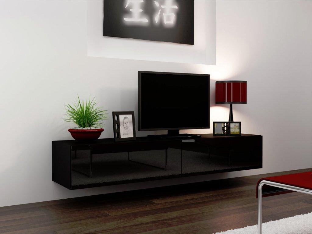 Televizní stolek VIGO 180, černý SKLADEM 3ks