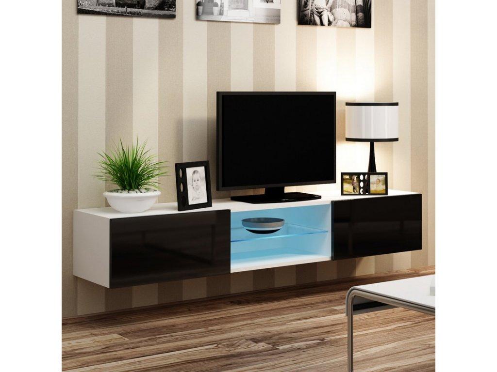 Nástěnný TV stolek CAMA VIGO 180 GLASS, bílo/černý SKLADEM 1ks