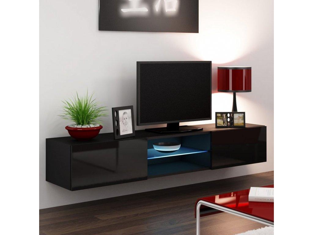Nástěnný TV stolek CAMA VIGO 180 GLASS, černý
