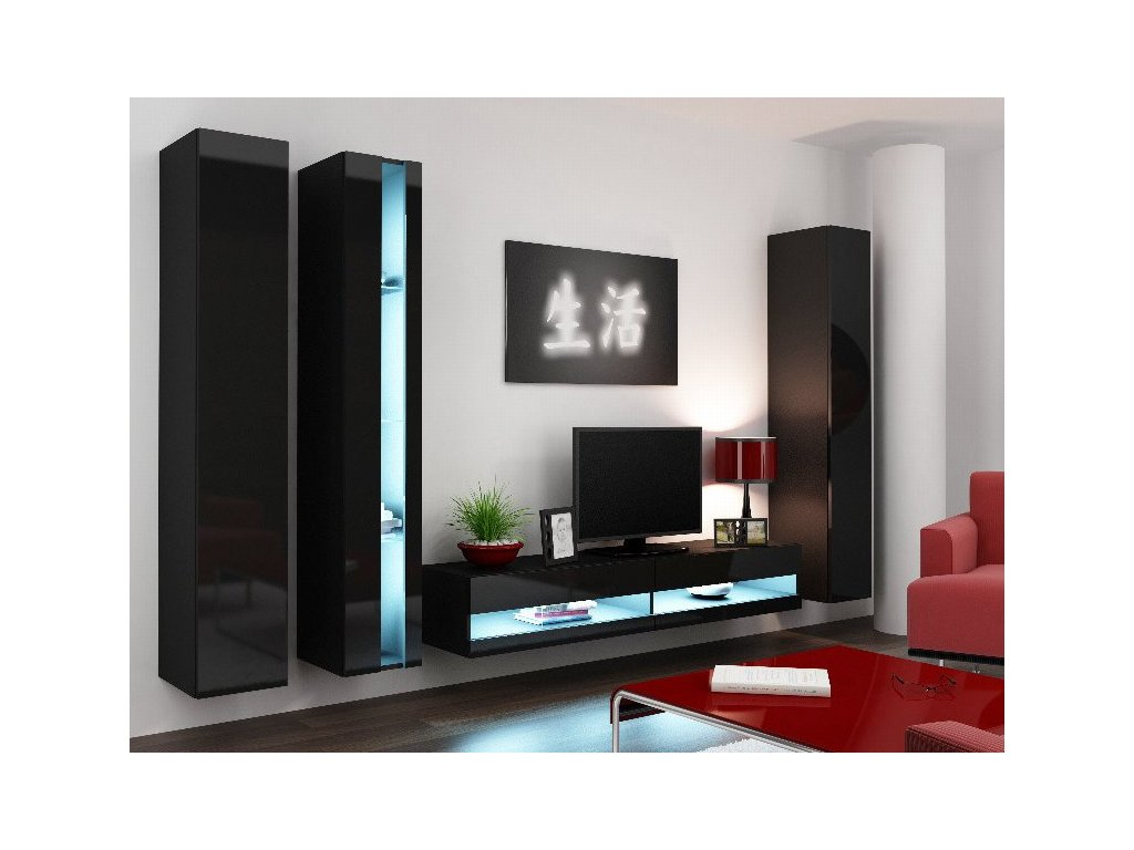 Obývací stěna VIGO NEW 7, černá
