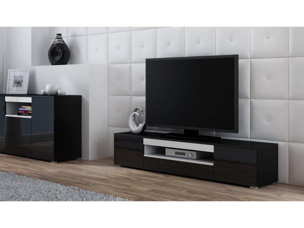 Televizní stolek VIVA černá/polička bílá