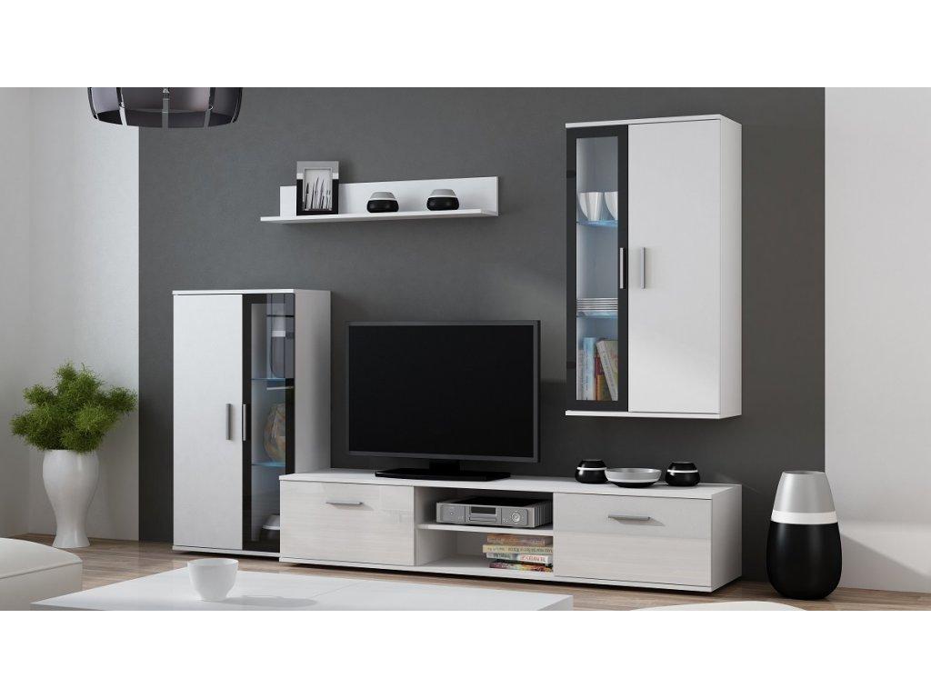 Obývací stěna DORA (bílá mat/černá) skladem 1ks