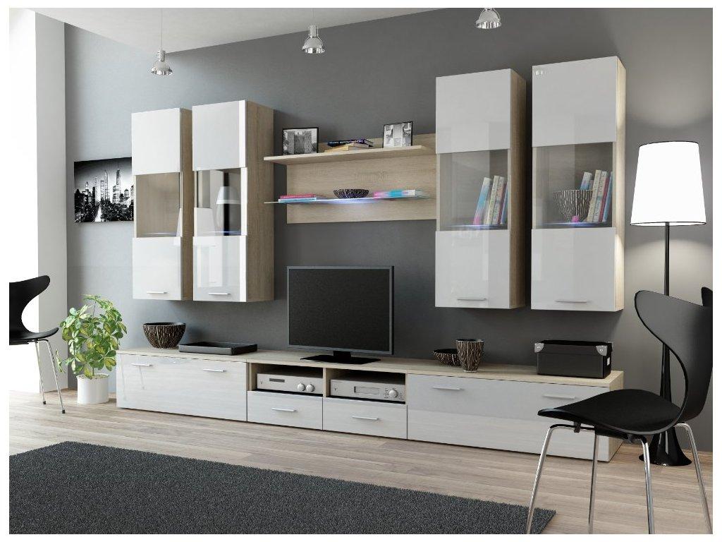 Obývací stěna DREAM 1 dub světlý/bílá