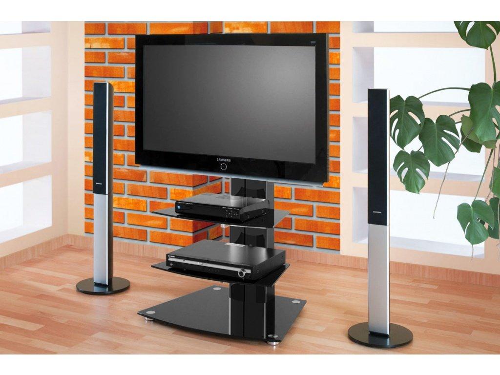 Televizní stojan ALLADYN 2, černý + černé sklo