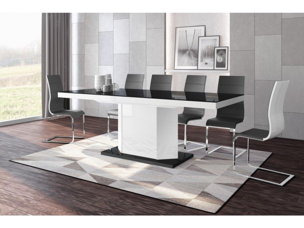 Rozkládací jídelní stůl AMIGO (černo-bílá)