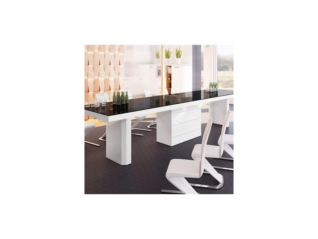 Rozkládací stůl KOLOS (černo-bílá)