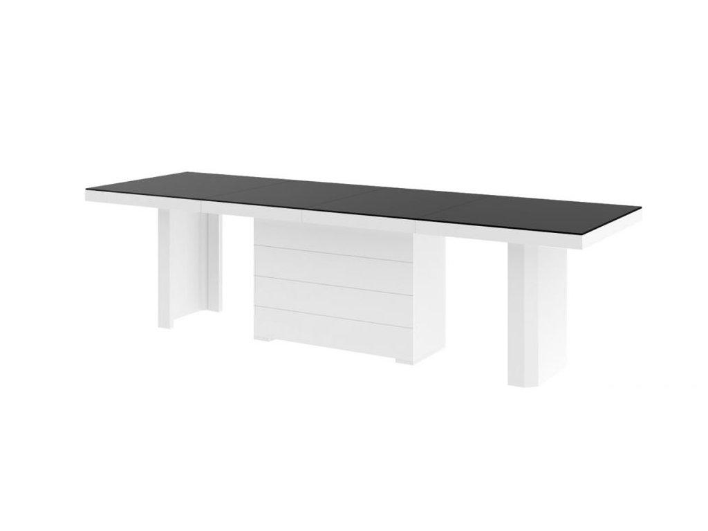 Rozkládací jídelní stůl KOLOS MAT, 160 cm, černo/bílý