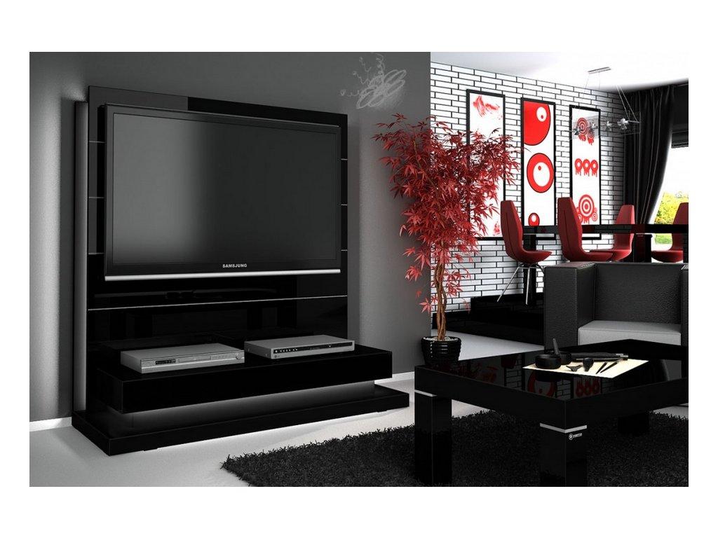 Luxusní televizní stěna PANORAMA LUX, černá SKLADEM 1ks