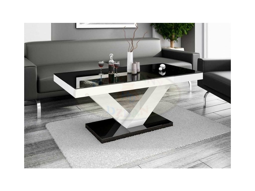 Konferenční stolek VICTORIA MINI, černo/bílý lesk