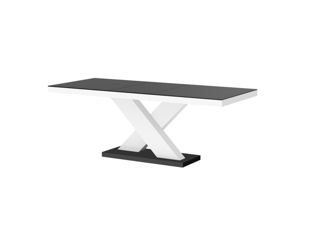 Rozkládací jídelní stůl XENON MAT, černo/bílý