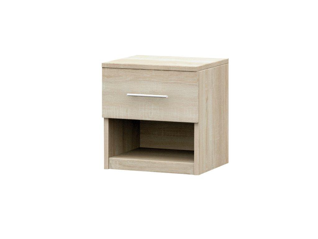 Noční stolek ALEX, černá/bílá, SKLADEM
